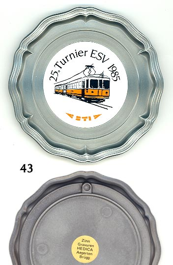 Pewter souvenir plate with hanging hook -- 25th Tournament of the shooting club (ESV) of the little BTI Railroad in NW Switzerland (Biel-Täuffelen-Ins Bahn), possibly now merged with the ASM and known as the 'ASM-BTI'; depicts tandem railcar; nearly like new; 6 oz. -- $10)